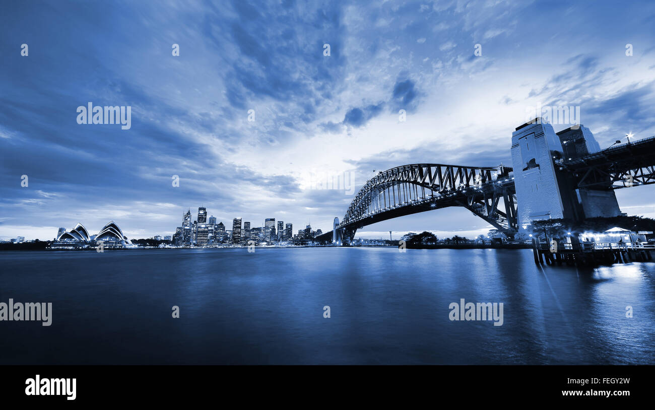 Sydney Harbor Panorama at twilight Stock Photo