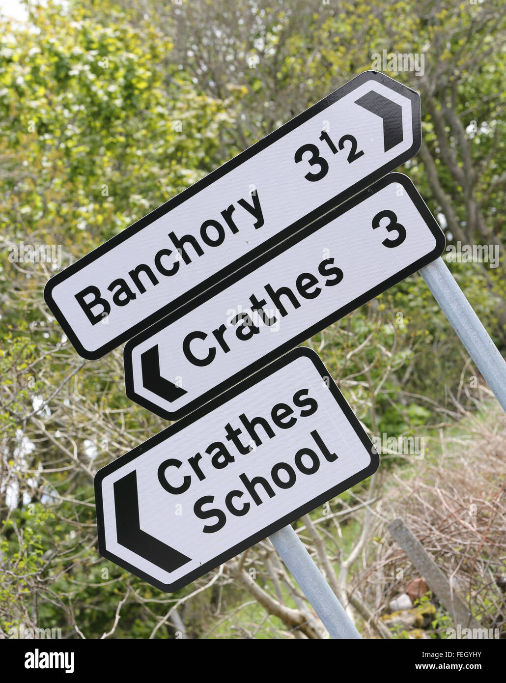 Sign for the village of Crathes and Banchory and Crathes school, Aberdeenshire, Scotland, uk, - Stock Image