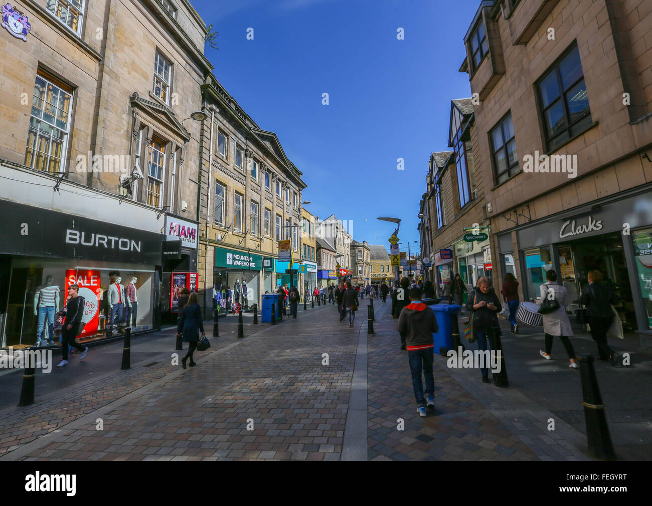 Shops and stores in the centre in the city of Inverness in the Highlands of Scotland, UK - Stock Image
