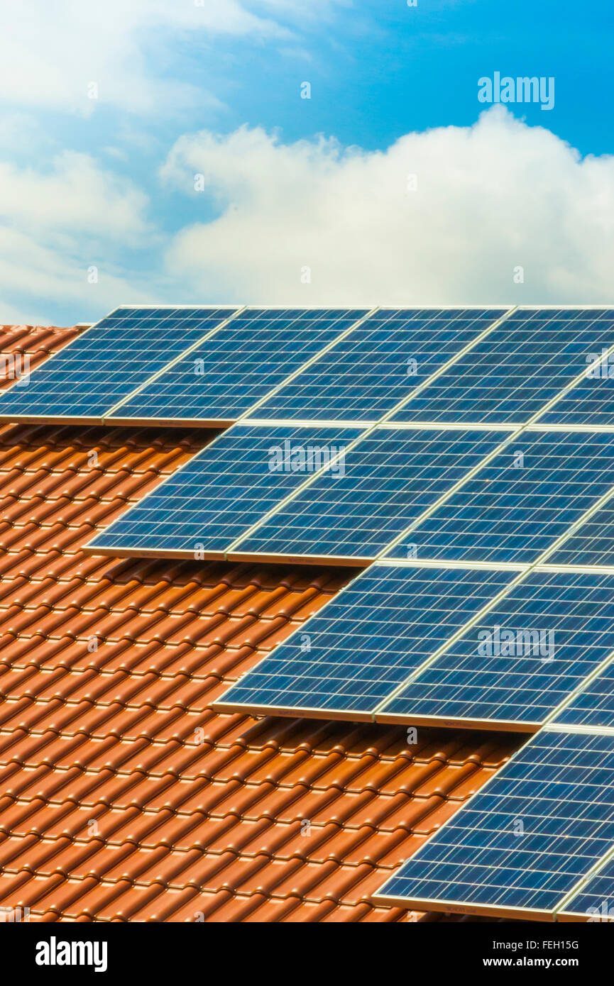 solar panels on a roof - Stock Image