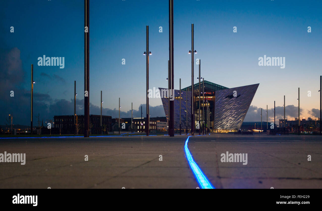 Dusk at the Titanic museum , on the site of the former Harland and Wolff shipyard , Titanic Quarter Belfast Stock Photo