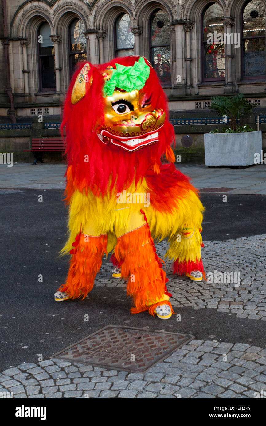 Manchester  7th February, 2016. Chinese New Year Dragon Parade.  The Year of the Monkey parade was led by a spectacular - Stock Image