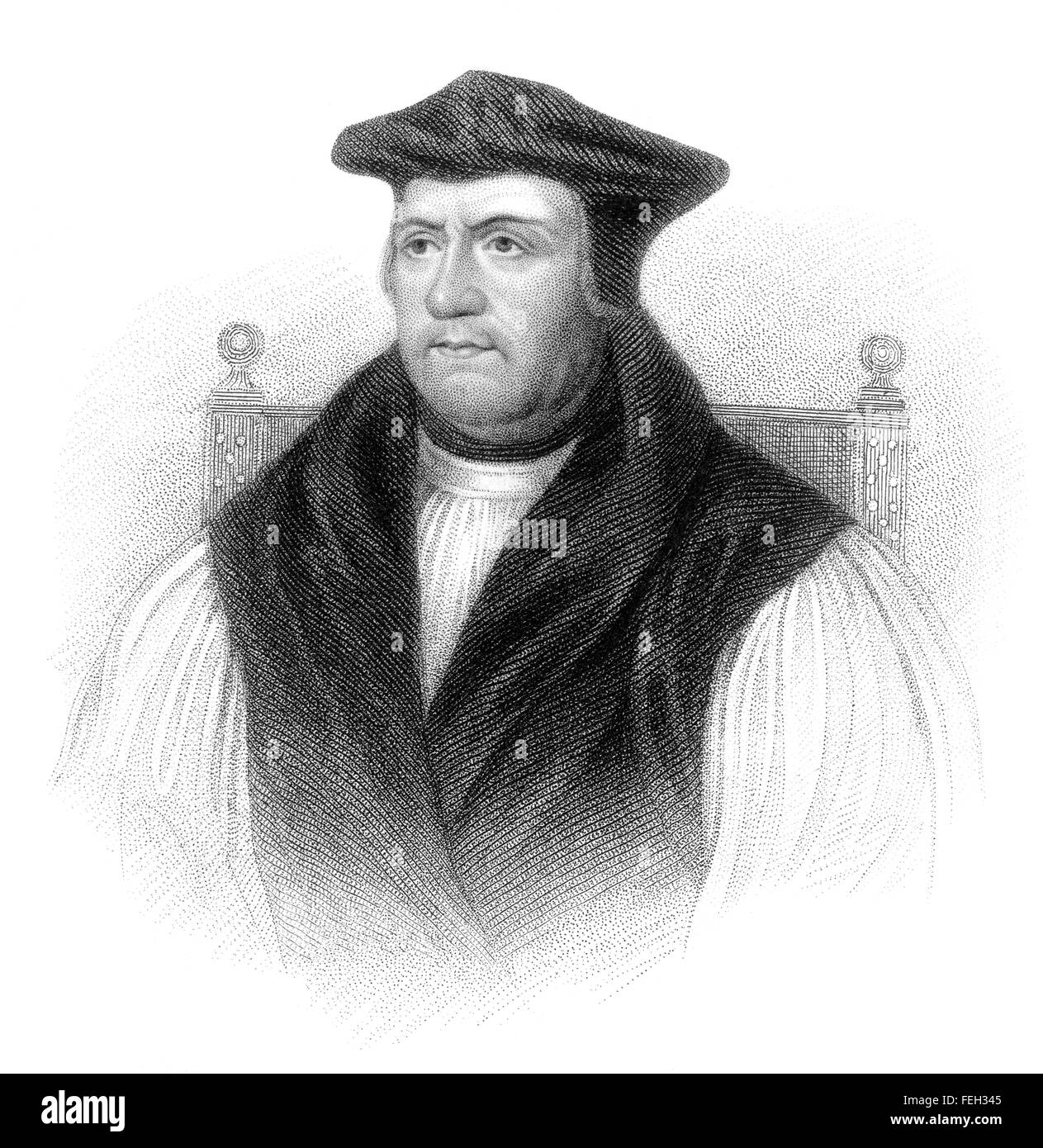 Matthew Parker, 1504-1575, Archbishop of Canterbury, a powerful figure of the English Reformation - Stock Image