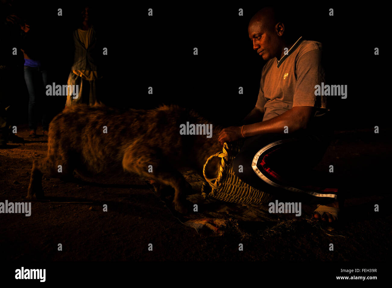 Hyena Man with tourists Harar, Ethiopia. - Stock Image