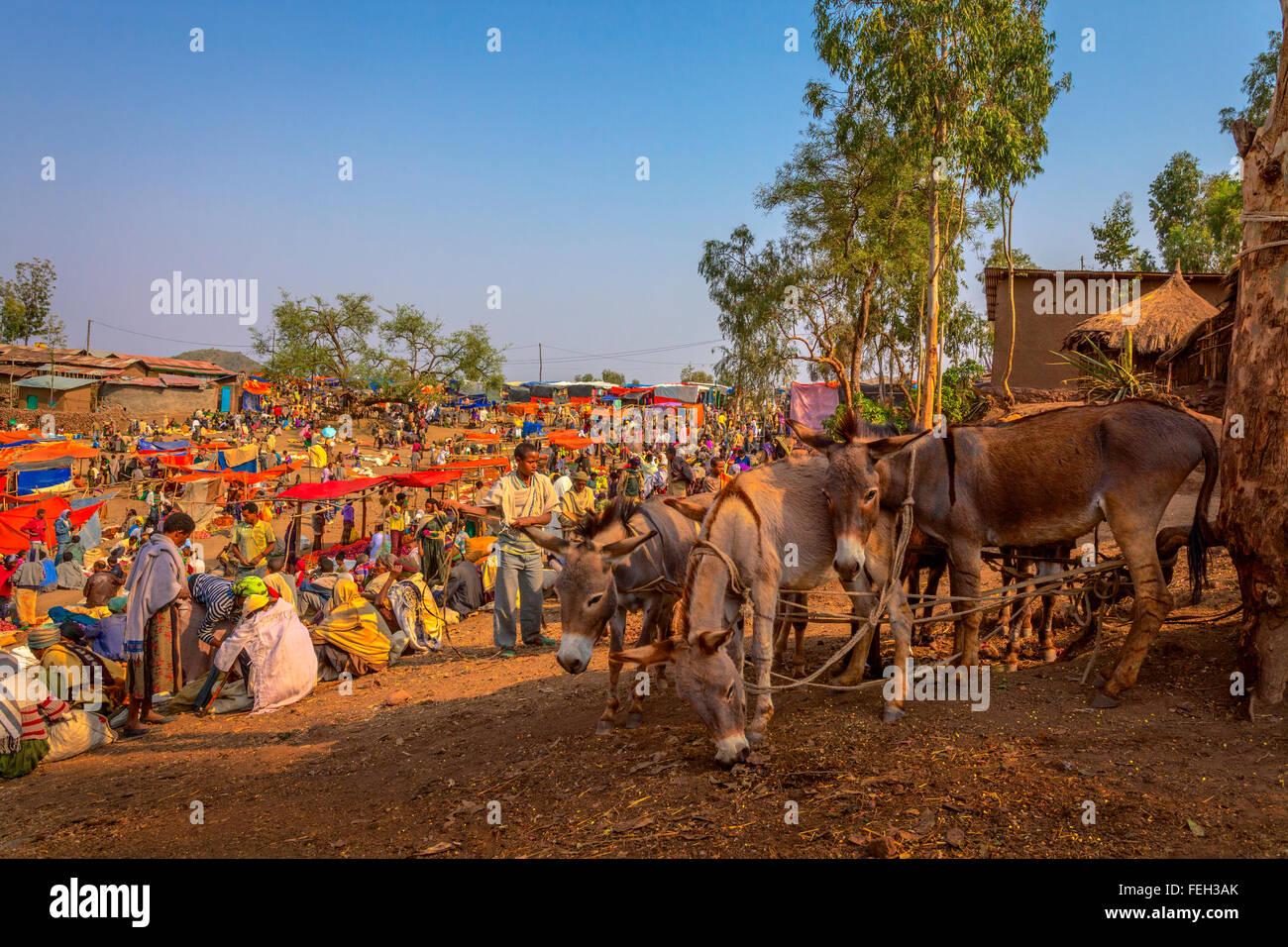 Sunday market in Lalibela Ethiopia. Stock Photo