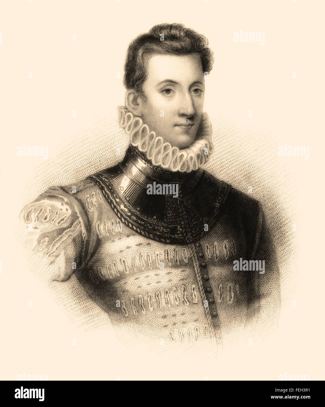 Sir Philip Sidney, 1554-1586, an English poet, courtier, scholar and soldier - Stock Image