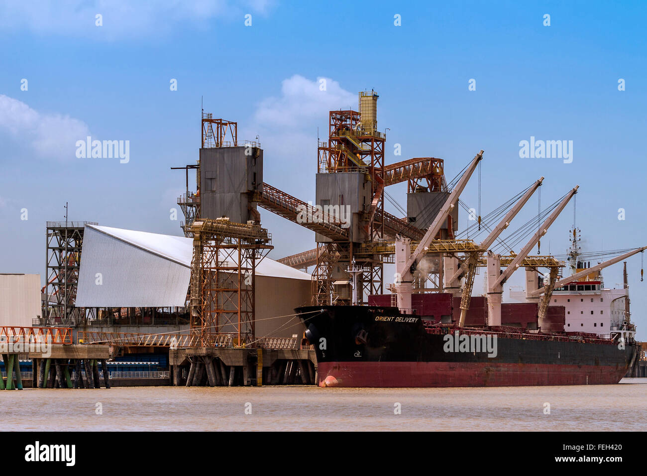 Bulk Carrier Orient Delivery Taking On Soya Bean  Cargo Santarem Brazil - Stock Image