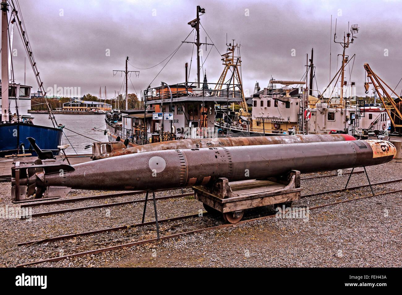 Torpedoes On The Dockside Stockholm Sweden - Stock Image