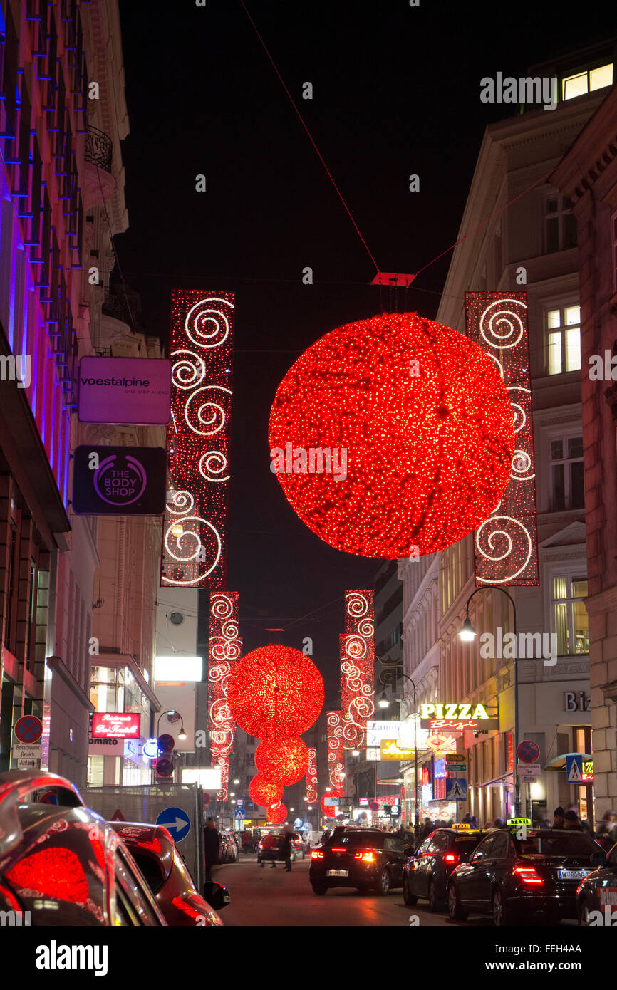 Illuminated Christmas Street Decorations At Night In Vienna