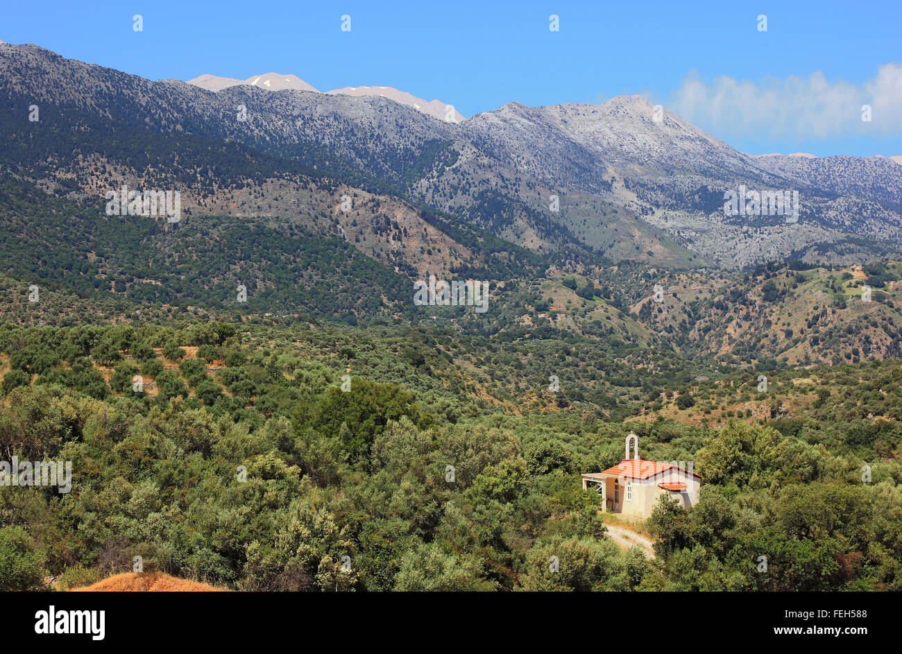 Crete, small church in the midst of olive trees in the Levka Ori area - Stock Image