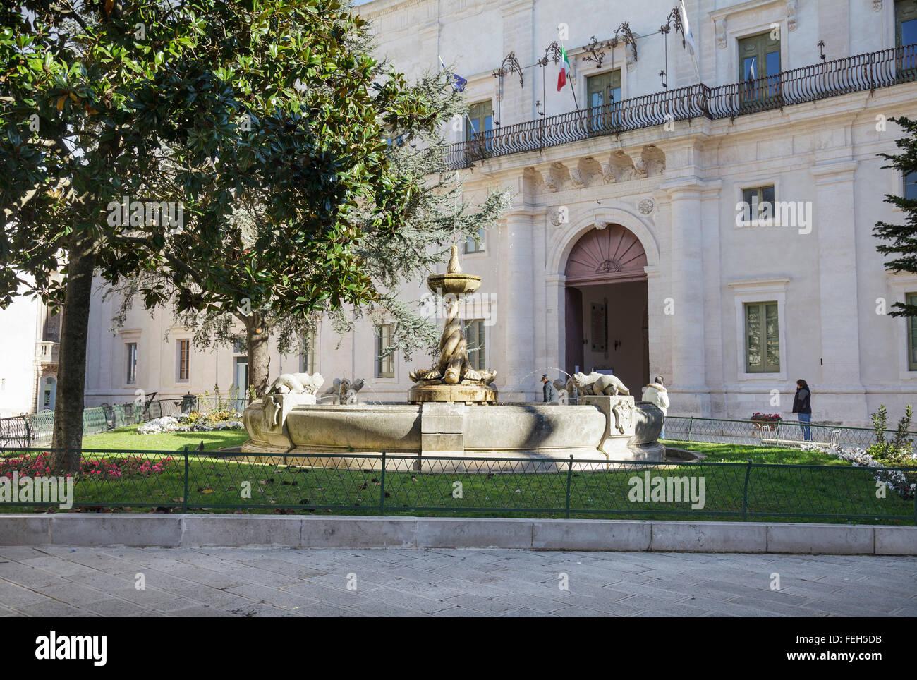 Piazza Roma and the Palazzo Ducale, Martina Franca, Taranto, Puglia, Italy - Stock Image