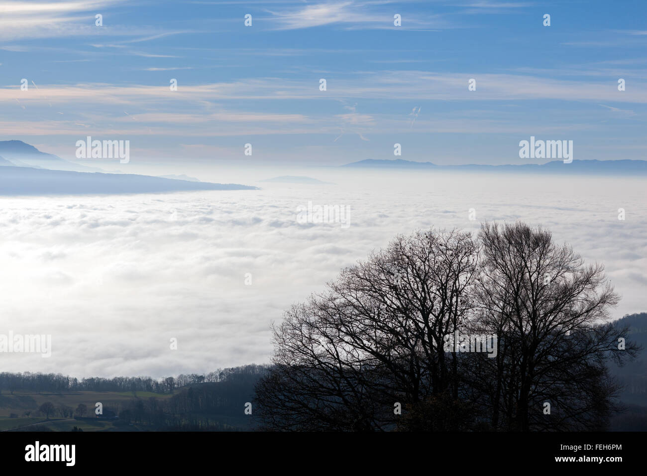 Sea of clouds over the Lake Geneva on a sunny day - Stock Image