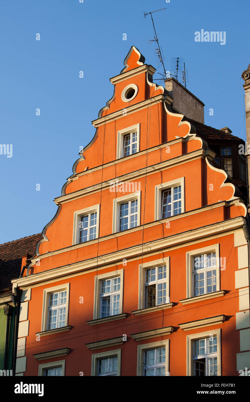 Historic house with gable, city of Wroclaw, Lower Silesia, Poland - Stock Image