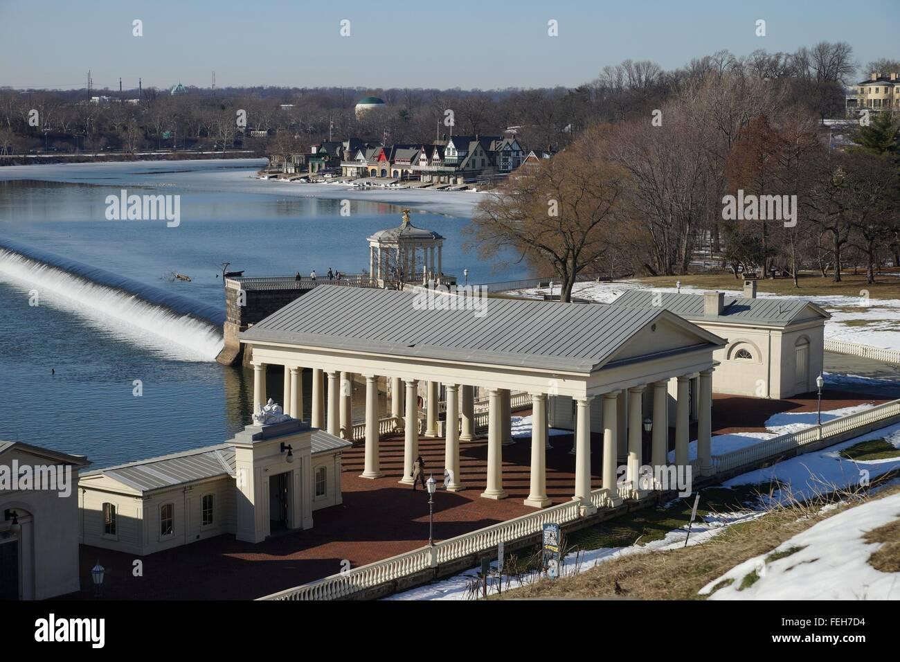 High point view over Fairmount Water Works historical landmark and boathouse row, Philadelphia, USA. - Stock Image