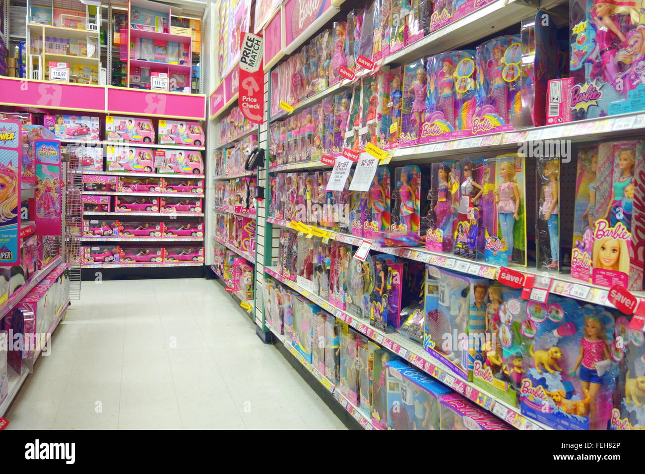 Barbie Dolls Selection At A Toys R Us Store In Toronto Canada Stock