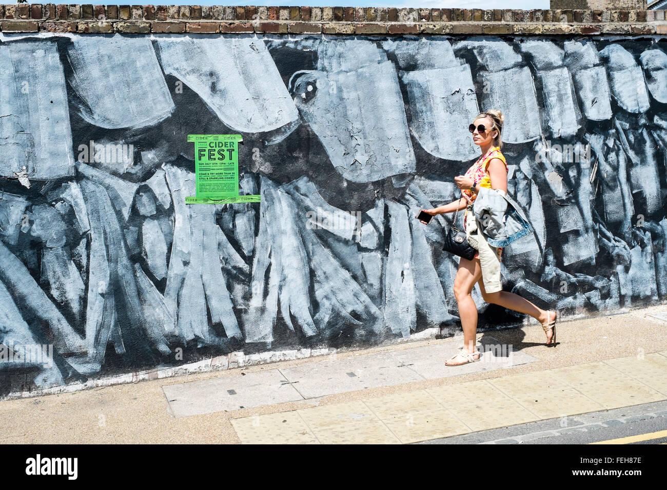 art East London Hackney Wick graffiti urban UK - Stock Image