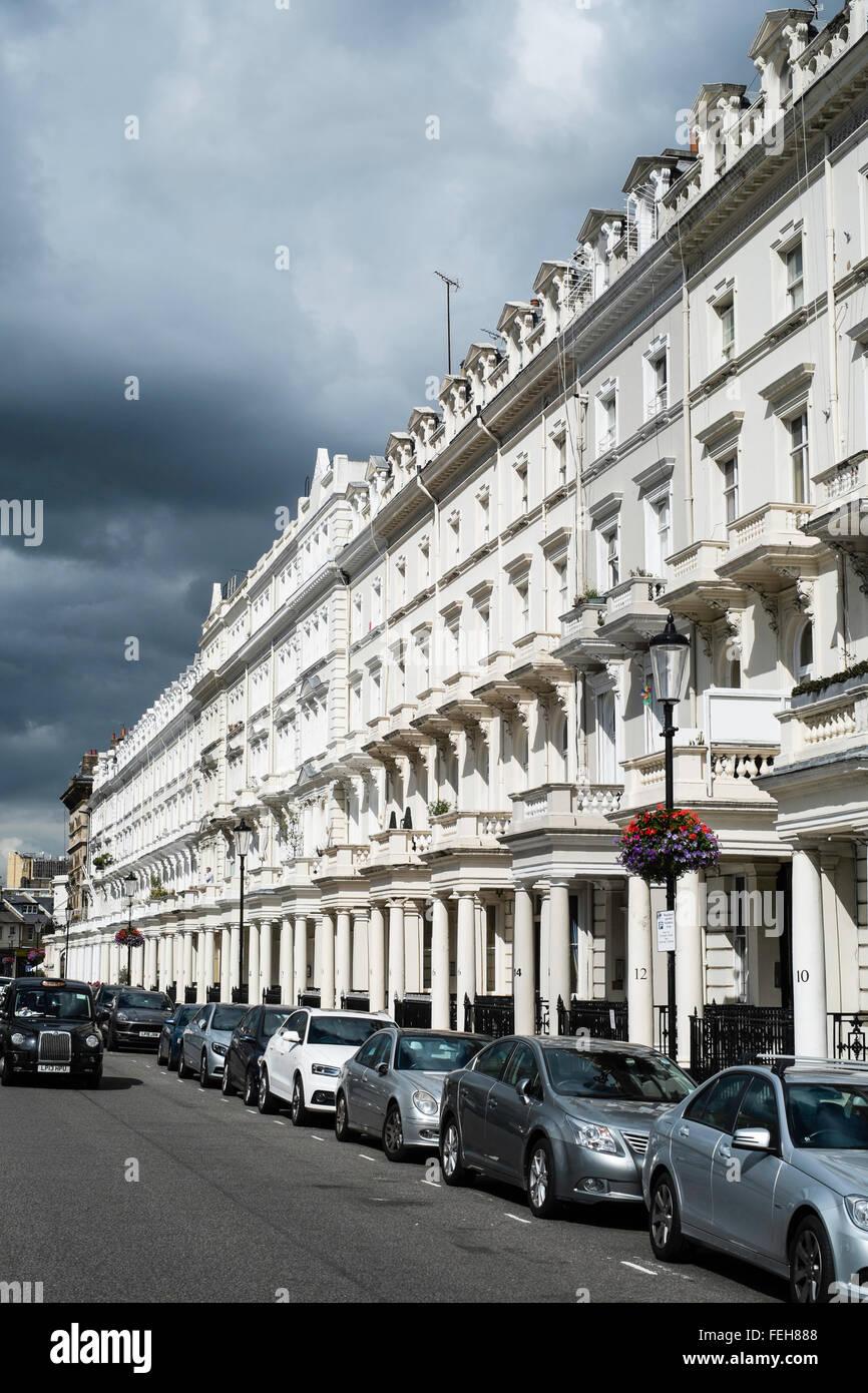 posh elegant expensive property London Kensington - Stock Image