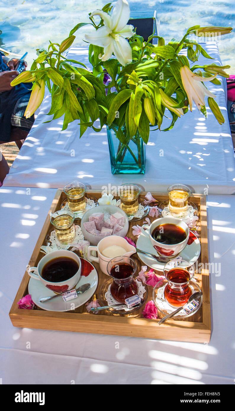 Turkish Thee and Turkish Delight Gümüşlük mezarlıkları Turkey - Stock Image