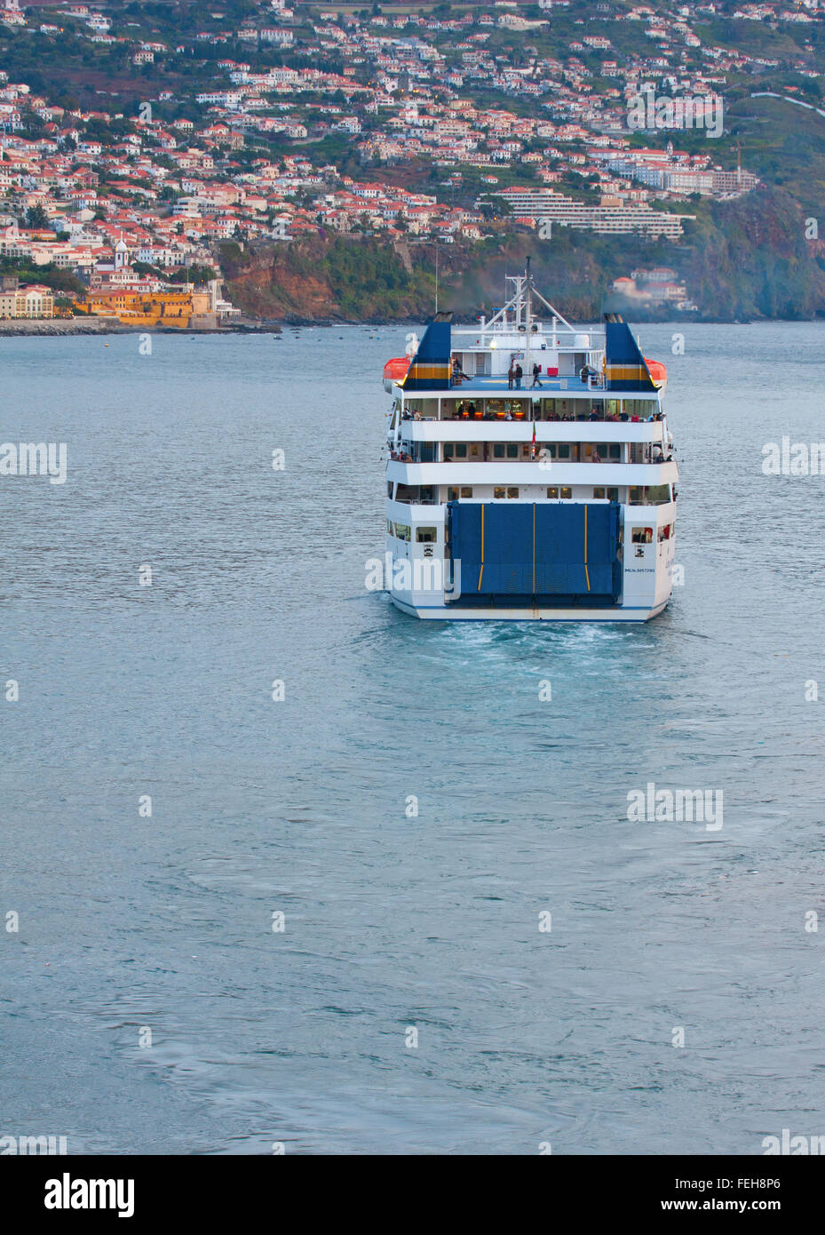 Porto Santo Ferry Departs Funchal Harbour Madeira Portugal - Stock Image
