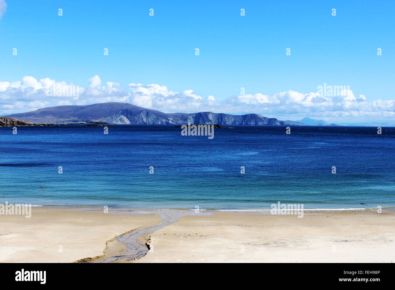 Empty Keem beach, Achill Island in Ireland Stock Photo
