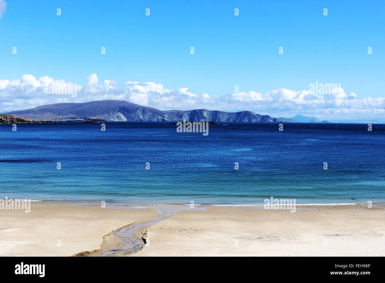 Empty Keem beach, Achill Island in Ireland - Stock Image