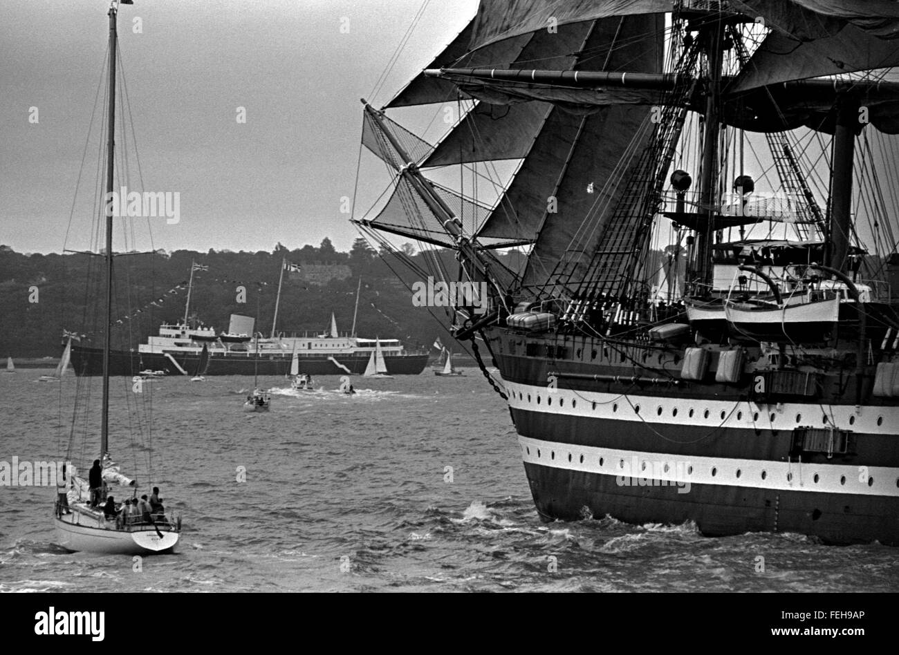 AJAX NEWS PHOTOS. 4TH AUGUST, 1974. COWES, ENGLAND. - ROYAL YACHT REVIEWS TALL SHIPS - THE ITALIAN SQUARE RIG NAVAL - Stock Image