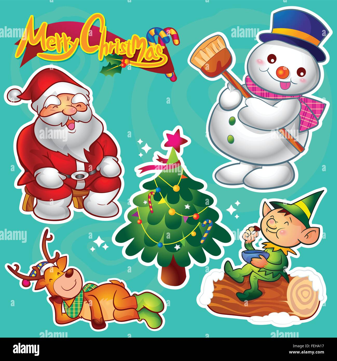 set of colorful cute christmas characters and decorations