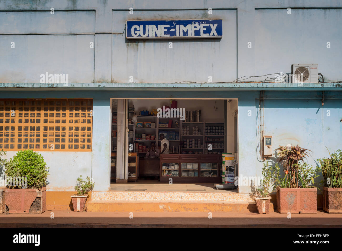A shop in the Guinea Bissau captial city of Bissau - Stock Image
