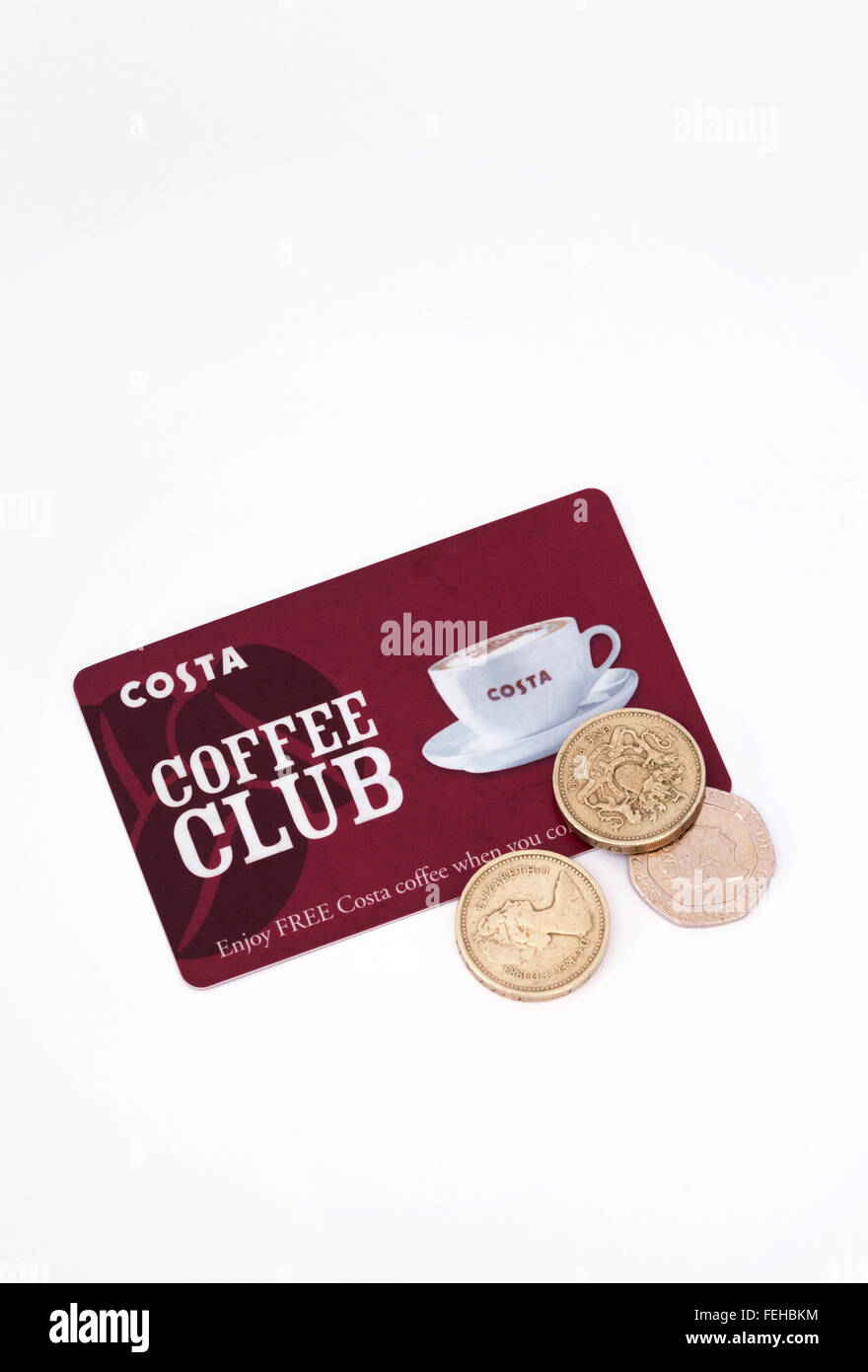 Costa Coffee club card and coins on a white background - Stock Image
