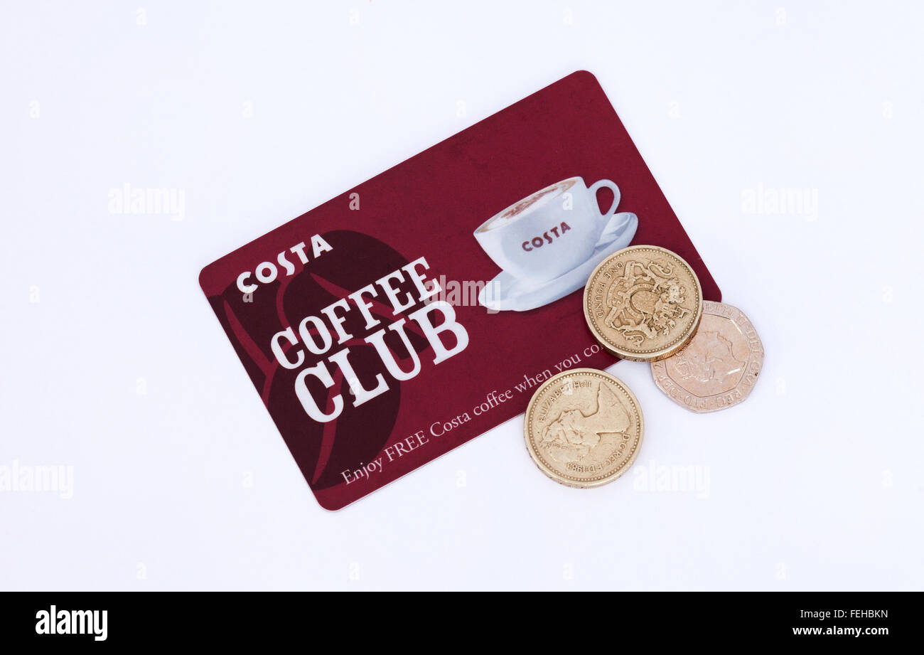 Costa coffee clubcard customer loyalty card and money savings, UK - Stock Image
