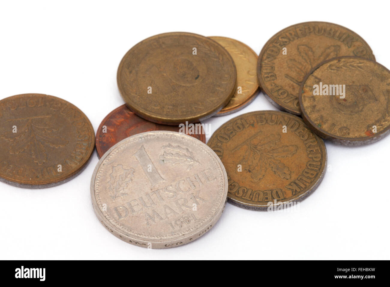 Old german deutsche mark coins from the pre-euro era - - Stock Image