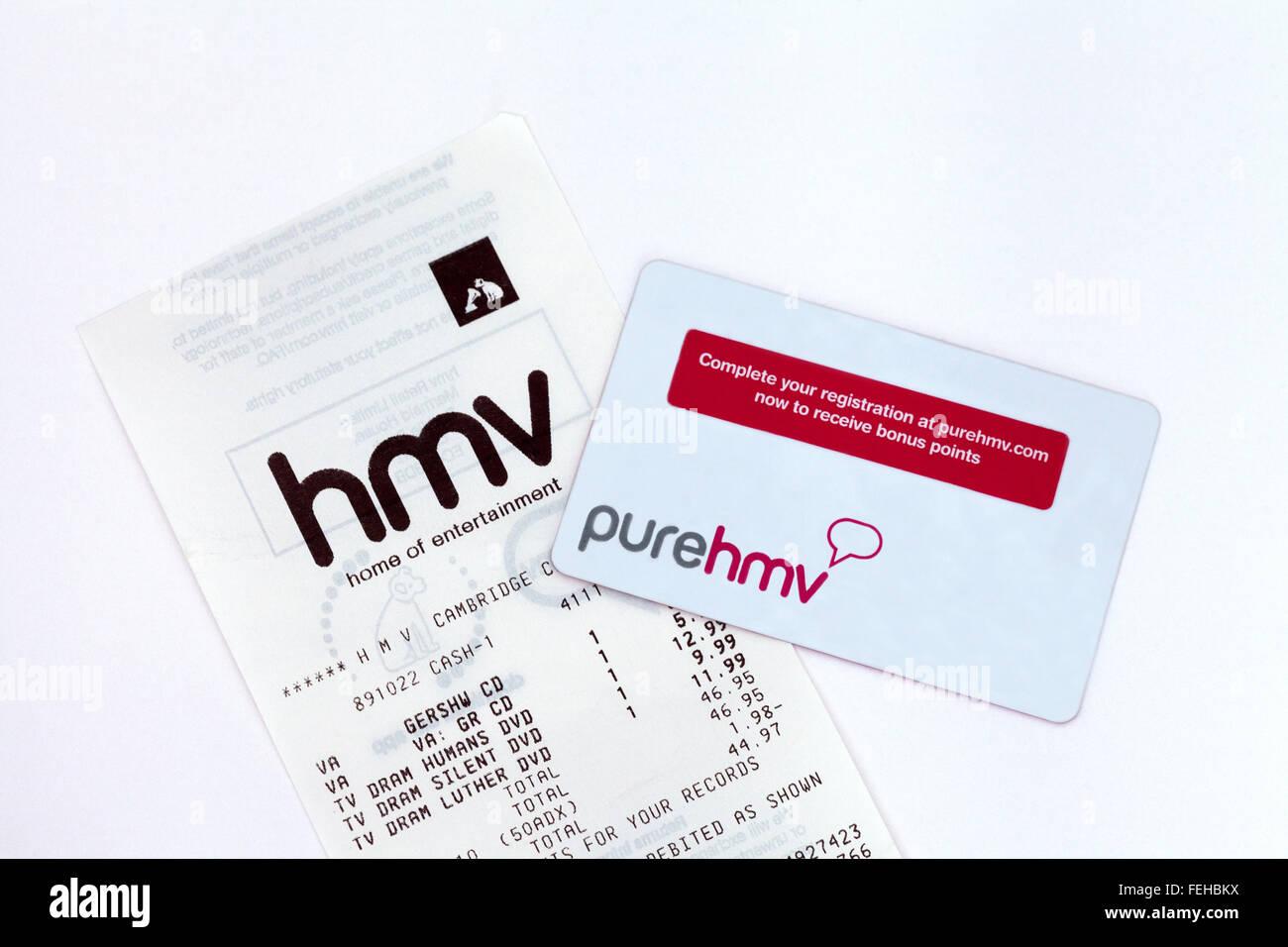 HMV customer loyalty card and receipt, UK - Stock Image