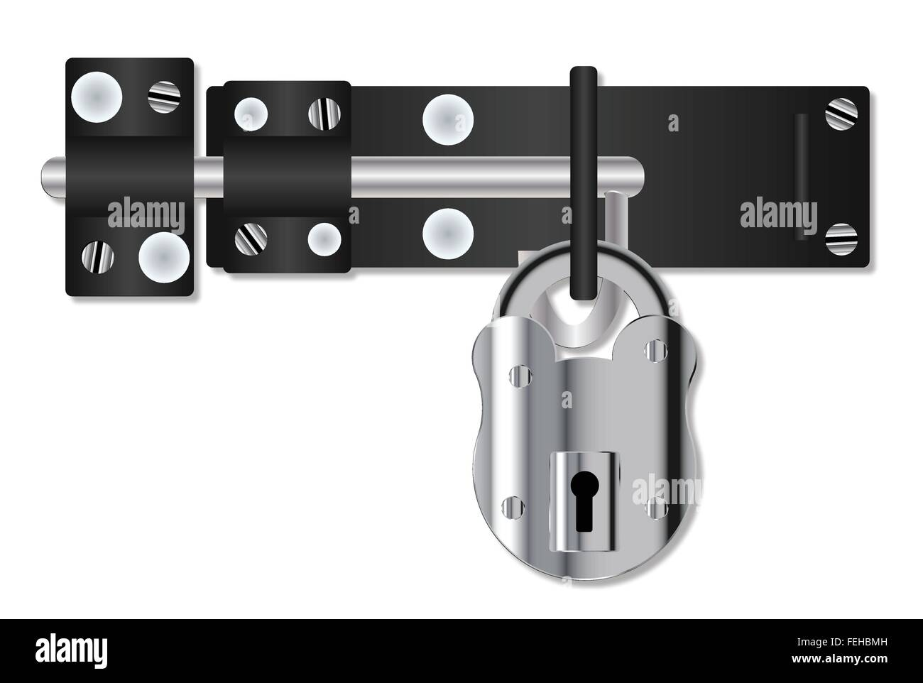 A hasp and staple door bolt and padlock over a white background  sc 1 st  Alamy & A hasp and staple door bolt and padlock over a white background ...