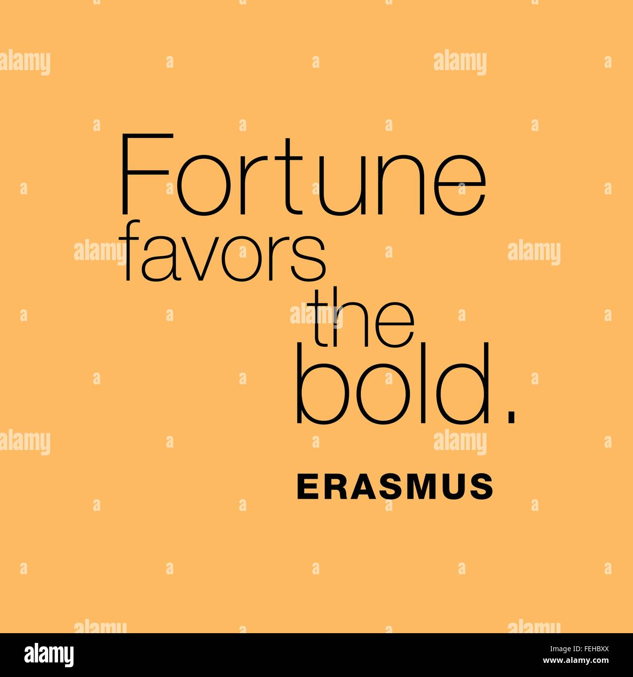 'Fortune favors the bold.' Erasmus - Stock Vector