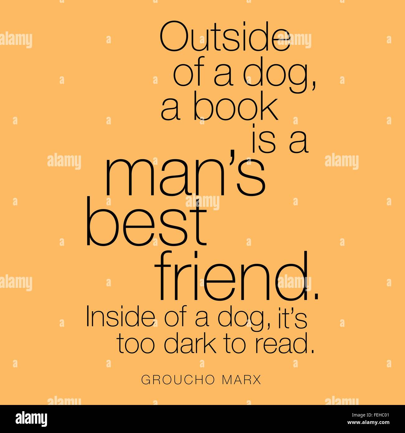 'Outside of a dog, a book is a man's best friend. Inside of a dog, it's too dark to read.' Groucho - Stock Image