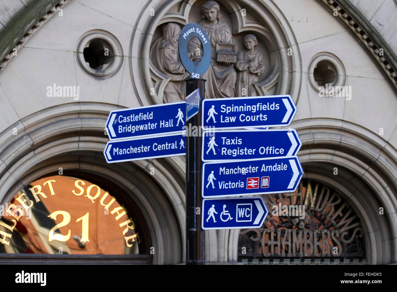 Albert Square Signs in Manchester, UK - Stock Image