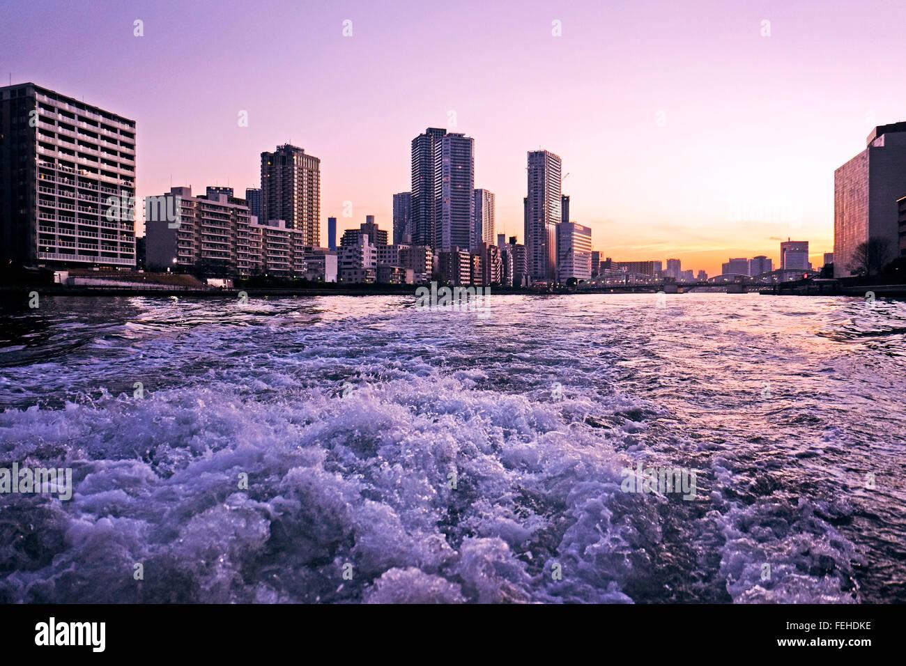 Tokyo, metropolis, Japan, city, modern, river, - Stock Image