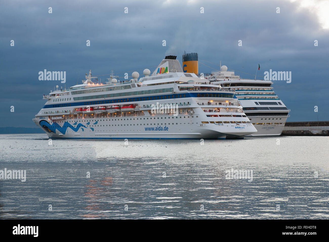 Two Cruise ships docked in Funchal, Madeira - Stock Image