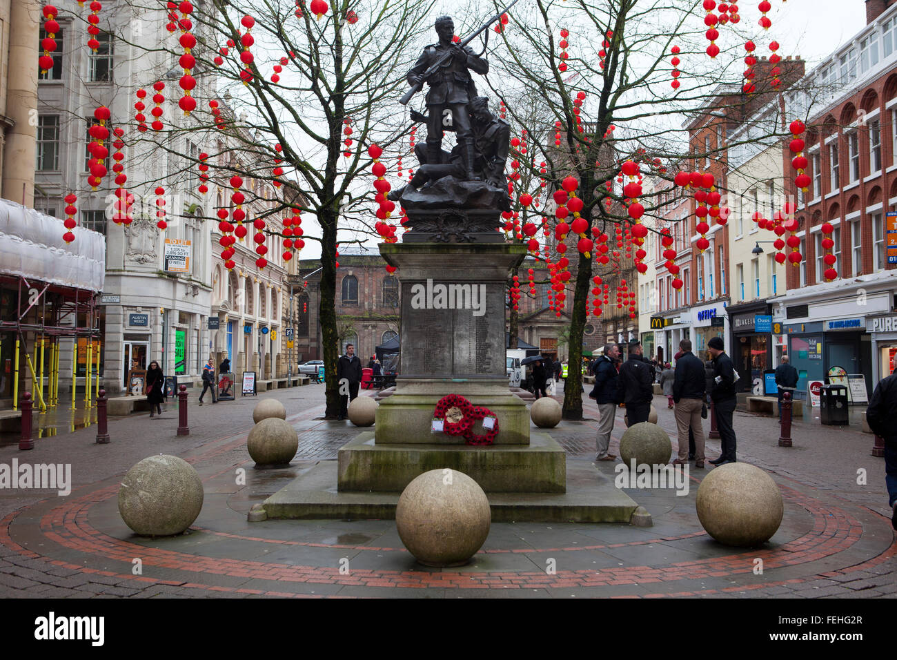 Chinese lanterns in St. Ann's Square, Manchester, UK Stock Photo