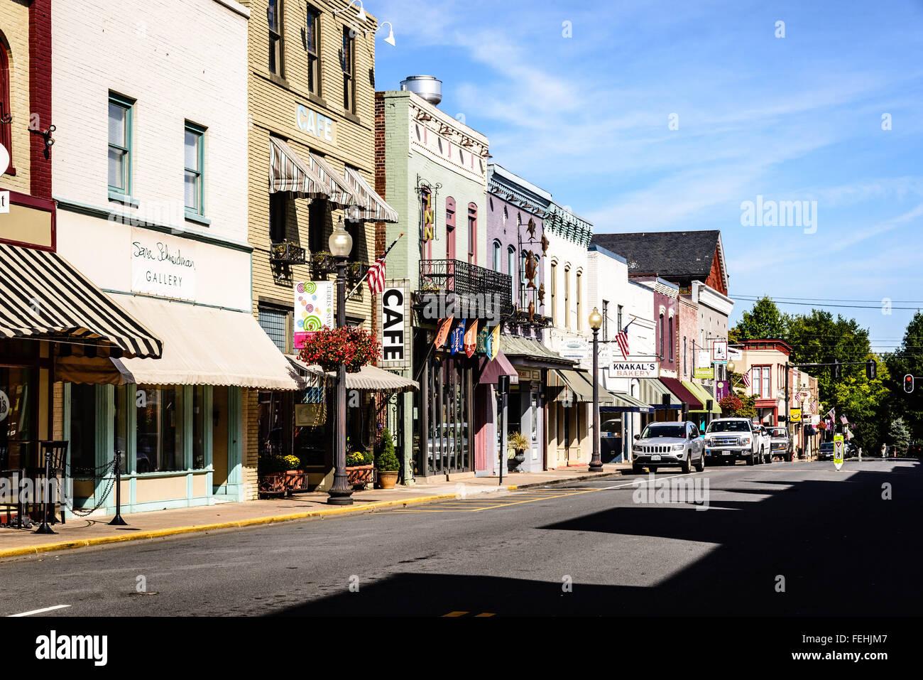 Restaurants And Shops On East Davis Street Culpeper Virginia Stock