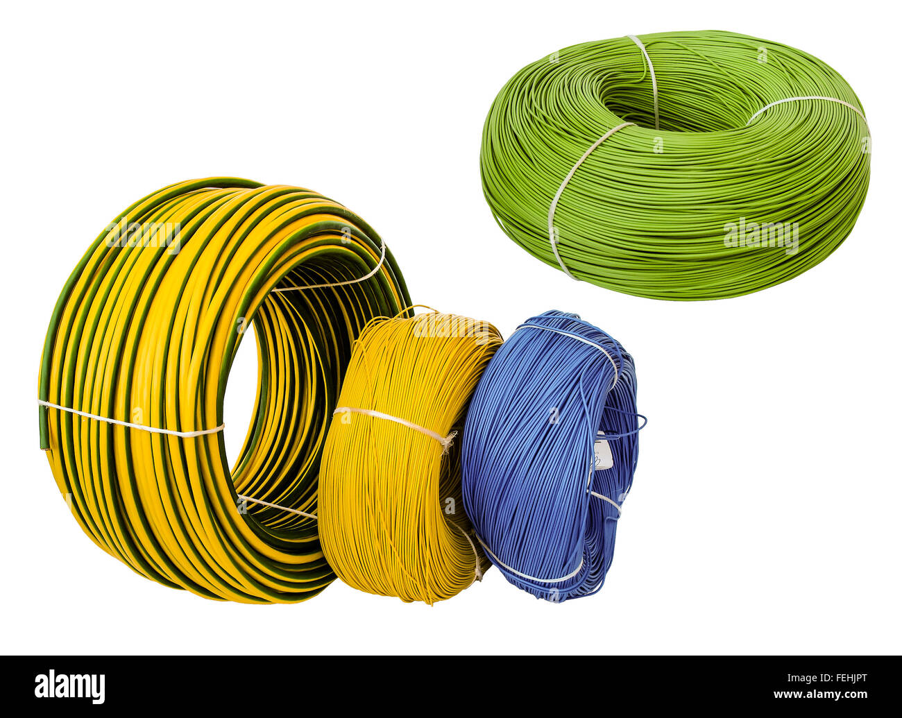 Farbige Elektrokabel coil roll green wire on stock photos coil roll green wire on stock