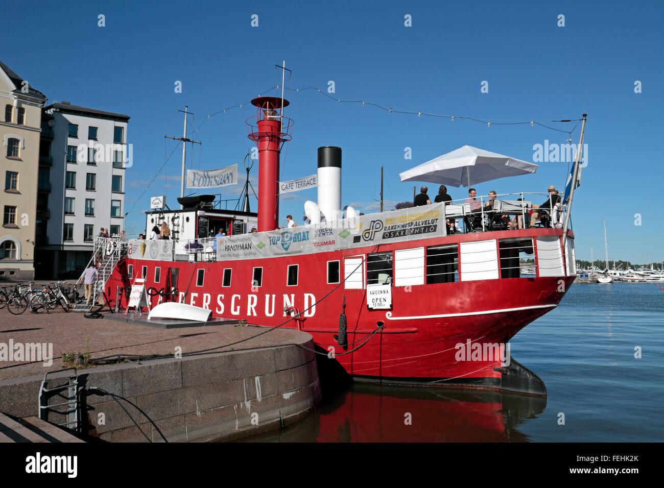 The lightship Relandersgrund cafe restaurant boat, Meritulli Square, Helsinki, Uusimaa, Finland. - Stock Image