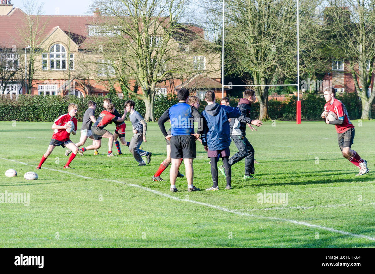 Rugby practice on St Legend's Park, Cambridge, UK - Stock Image