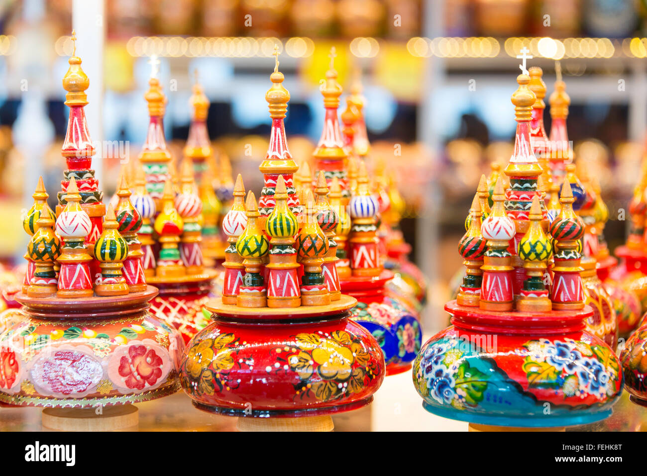 St. Basil's Cathedral Russian music boxes, Saint Petersburg, Northwestern Region, Russian Republic - Stock Image