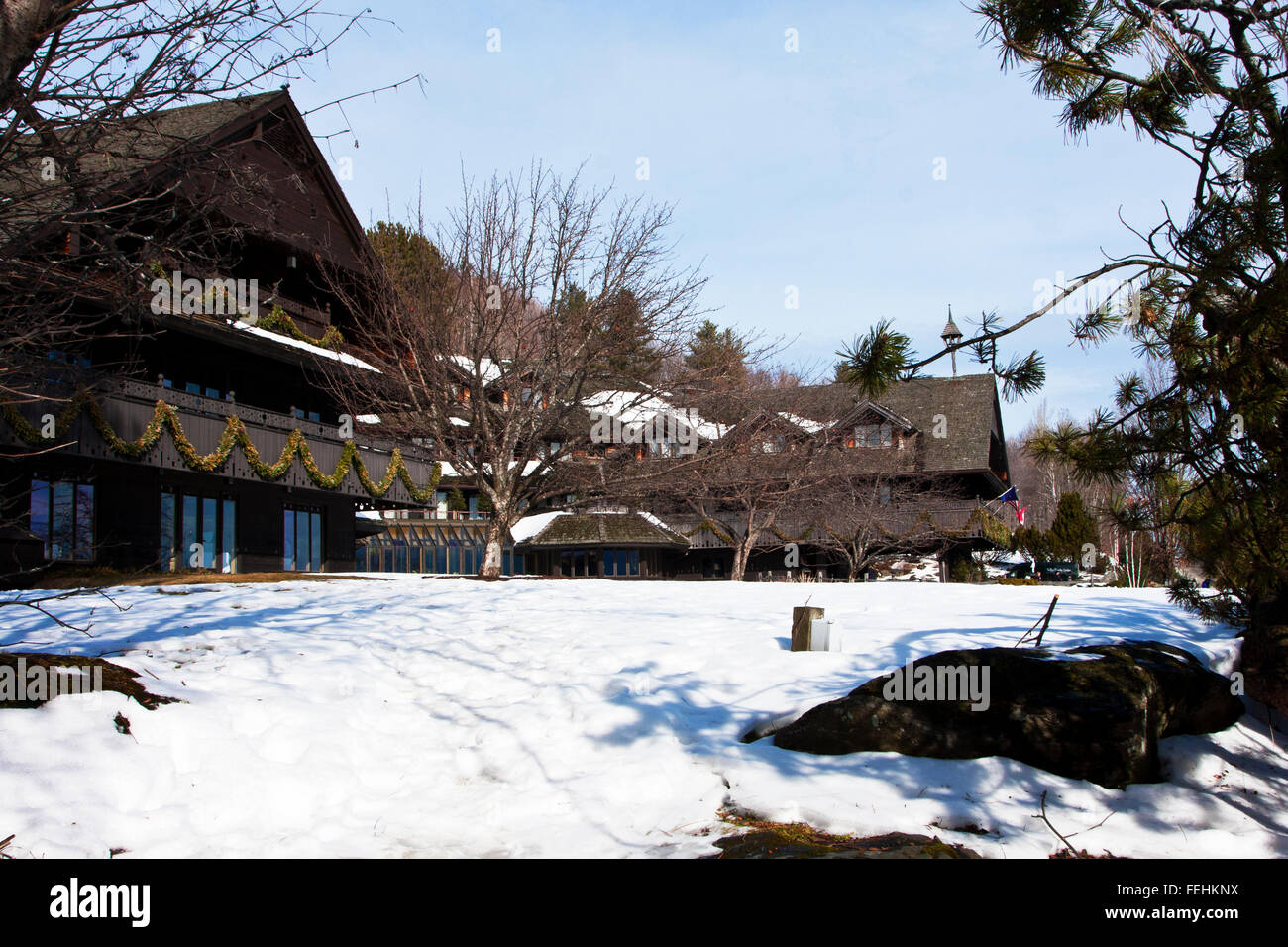 The Von Trapp Family Lodge in Stowe Vermont, USA, this image shows The main building of the Trapp Family Lodge - Stock Image