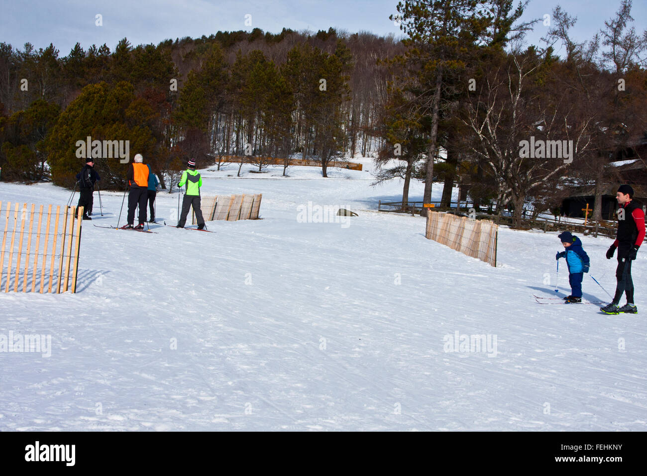 The Von Trapp Family Lodge in Stowe Vermont, USA,  cross country skiers  on groomed trails. - Stock Image