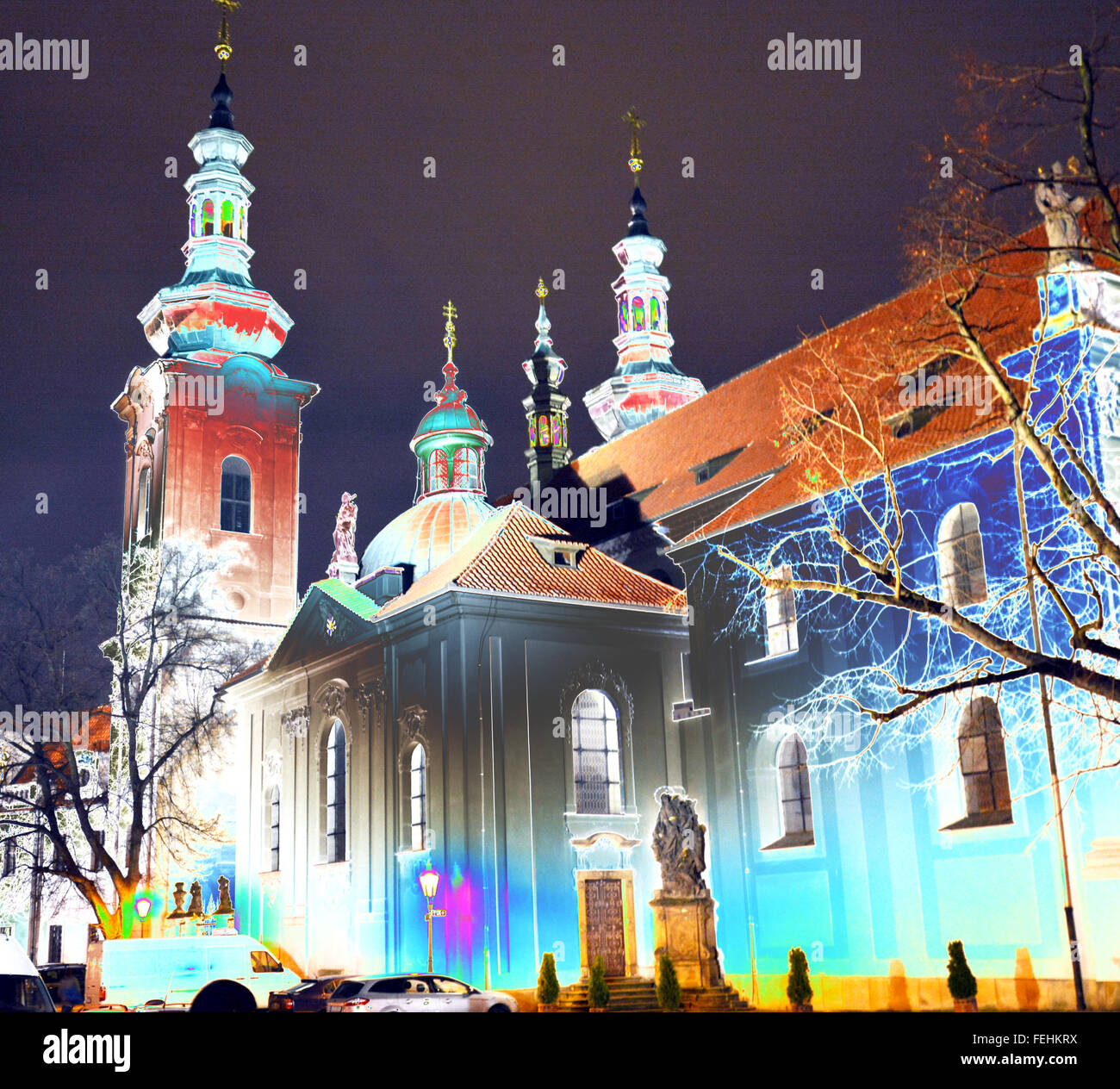Prague Castle Church stylised image with overblown lighting - Stock Image