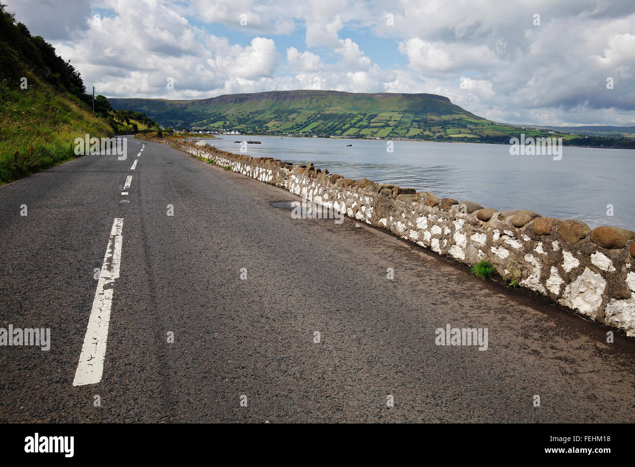 the Lurigethan Mountain near Glenariff and Waterfoot, County Antrim, Ireland - Stock Image