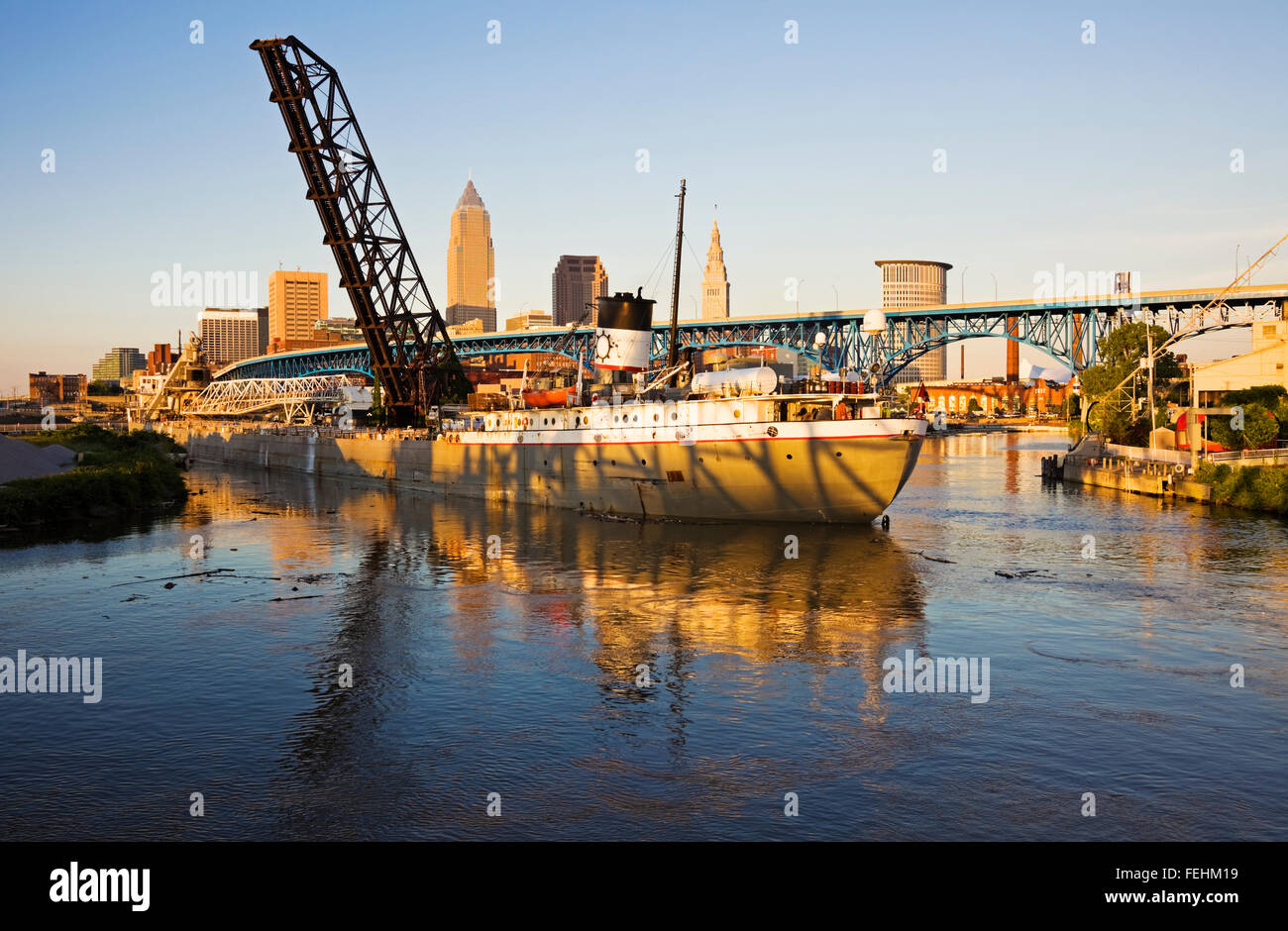Large ship entering the port of Cleveland Stock Photo