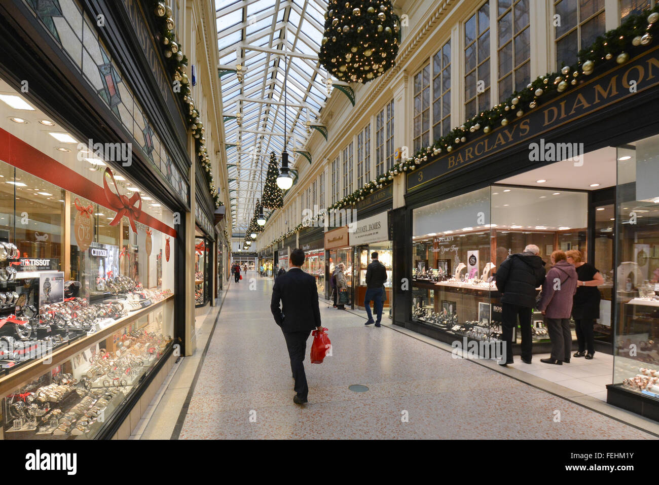 Argyll Arcade - which contains more than 30 jewellers and diamond merchants - at Christmas - Glasgow, Scotland, Stock Photo